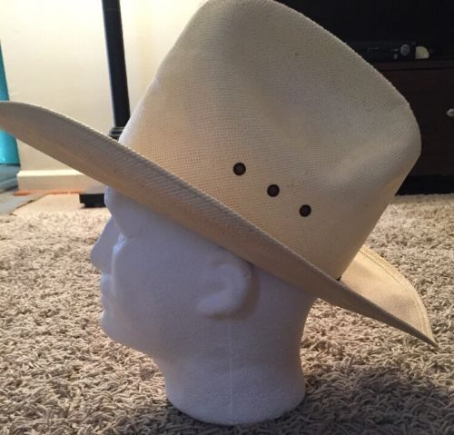 "Resistol ""Self Conforming"" 4 Star Genuine Shantung Panama Cream Cowboy Straw Hat"