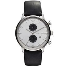 Emporio Armani AR0385 Black Leather Strap White Dial Chronograph Watch - $149.99