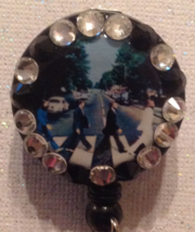 Beatles Abbey Road Badge Reel Id Holder Swarovski Crystals Alligator cli... - $9.95