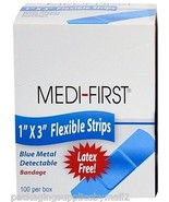 "Adhesive Bandage Blue Metal Detectable Strip 1"" x 3"" 1 Box (100/Bx) - MS... - $9.75"