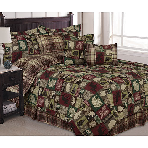 cabin pine bear lodge lake 7 piece bed in a bag comforter