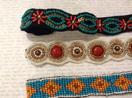 Turquoise Ruby Red Multi-Colored Beaded Elastic Headbands image 3
