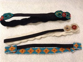Turquoise Ruby Red Multi-Colored Beaded Elastic Headbands image 4