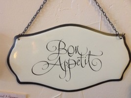 Enameled Sign in script Bon Appetit  on chain ready to hang made to look vintage image 4