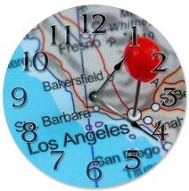 Sugar Vine Art Los Angelos Location Silent Non Ticking Round Battery Operated Ha - $24.29