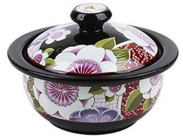 Hakoya Mini Ceramic Pot Pottery Camellia Print for Steamed Food Soup Stew