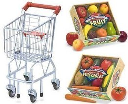 Melissa & Doug Shopping Cart with Playtime Veggies and Playtime Fruits - $103.90