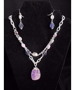 Laura Ashley Purple Silver Necklace and Earrings Glass Beads and stone - $18.57