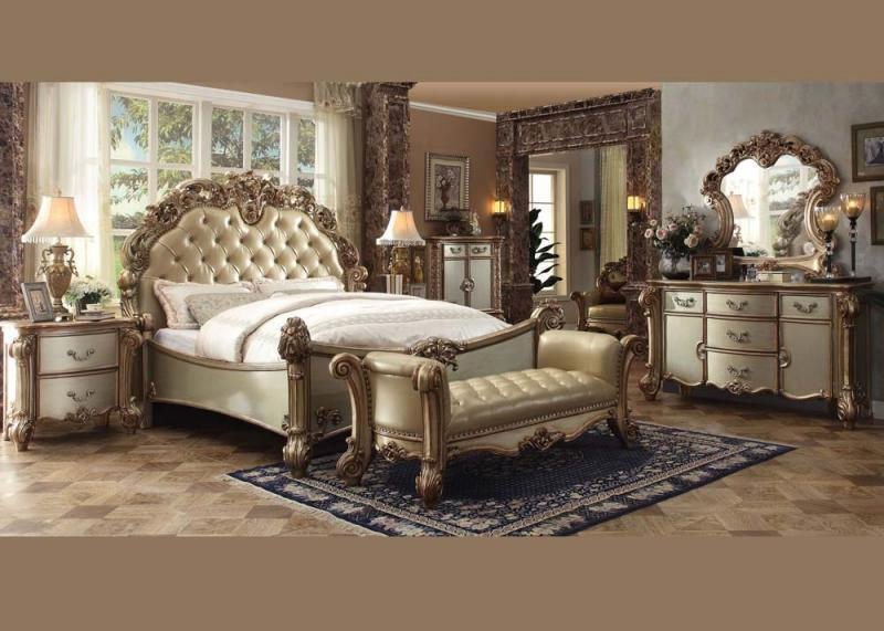 Acme Furniture VENDOME-23000 Q Gold Patina Queen Bedroom Set Classic 4-pcs