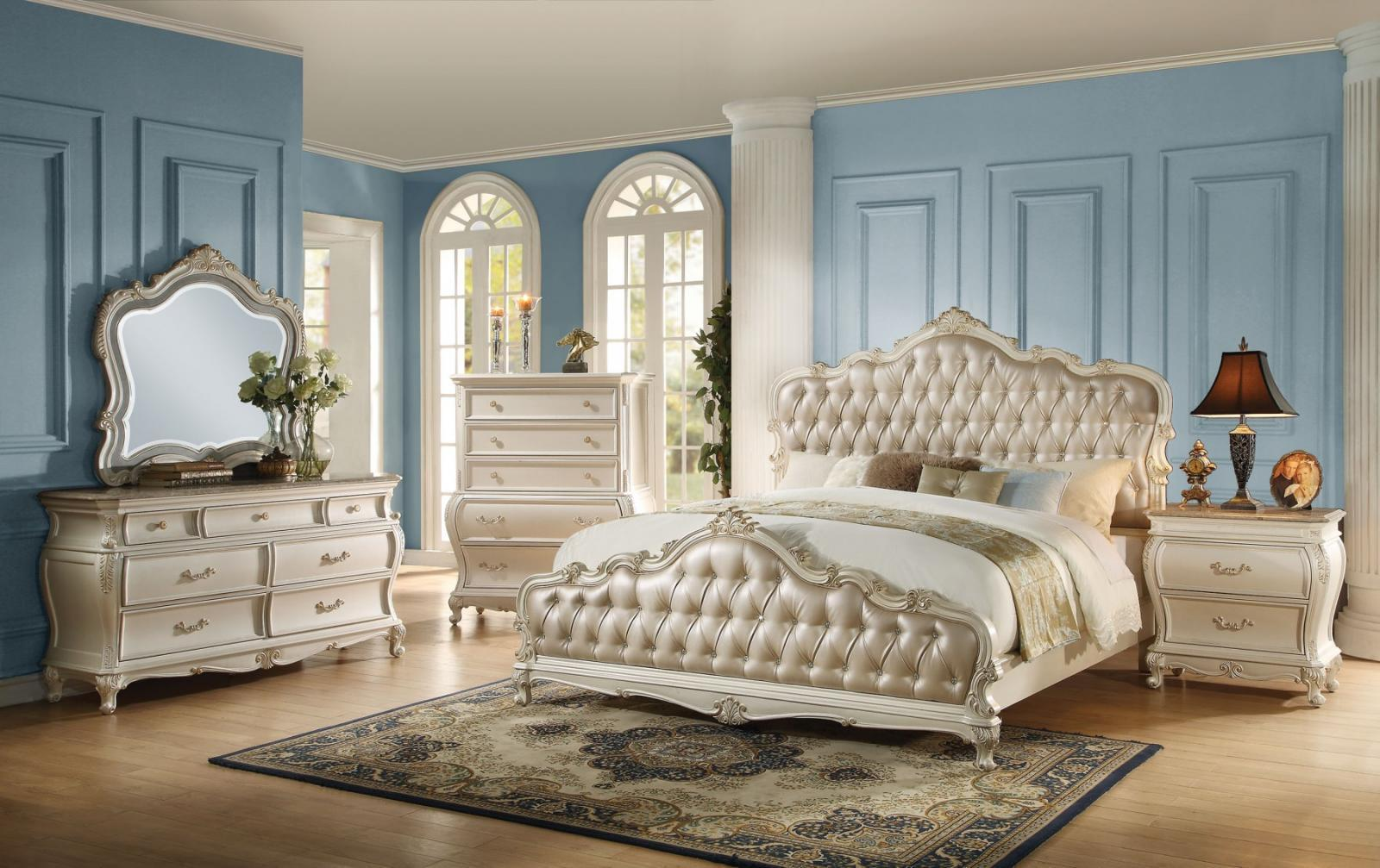 Acme Chantelle 23537EK  White KING Bedroom Set  Classic 4-pcs
