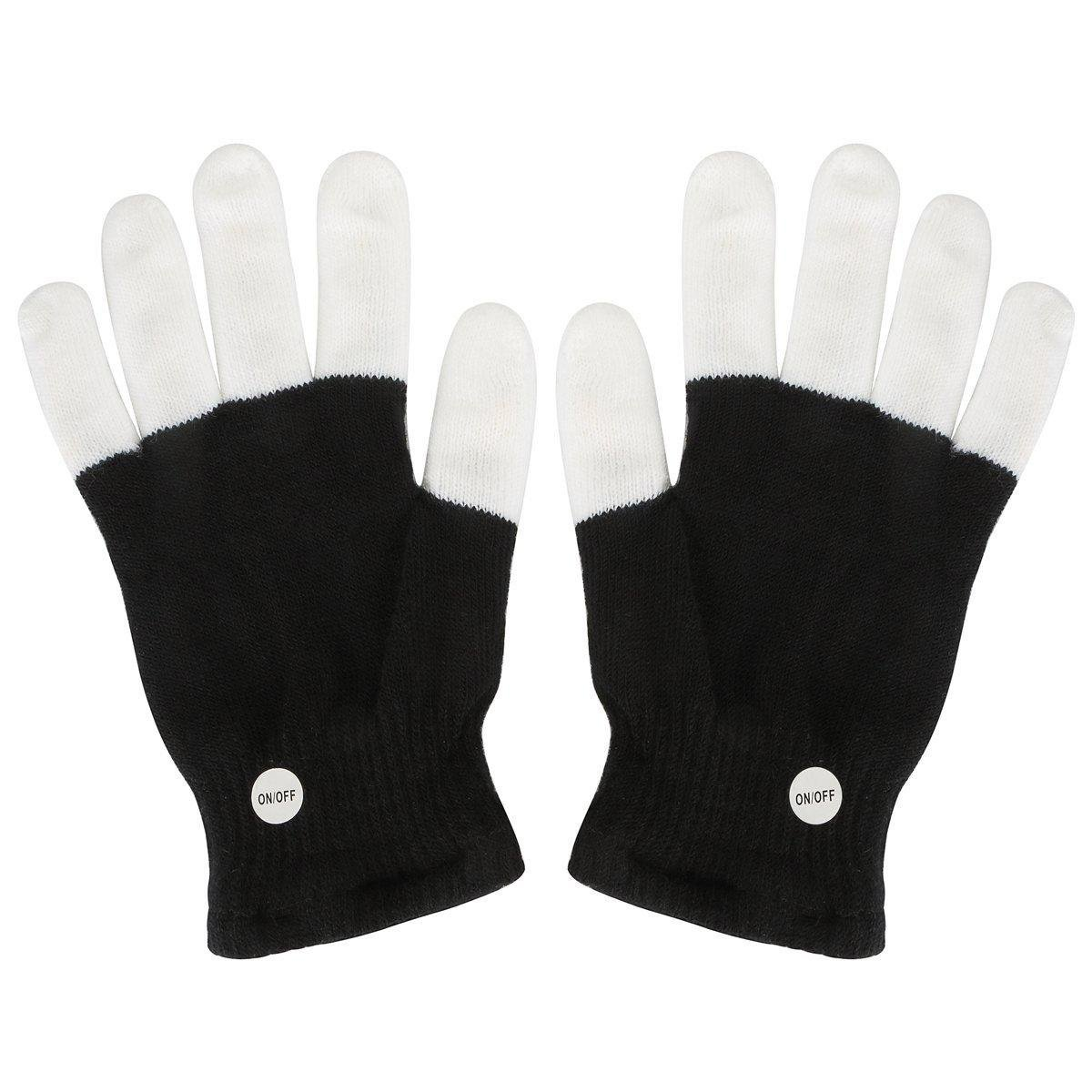 Multi-Color Electronic LED Flashing Gloves - One Pair w/Random Color and Design