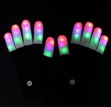 Multi-Color Electronic LED Flashing Gloves - One Pair w/Random Color and Design image 2