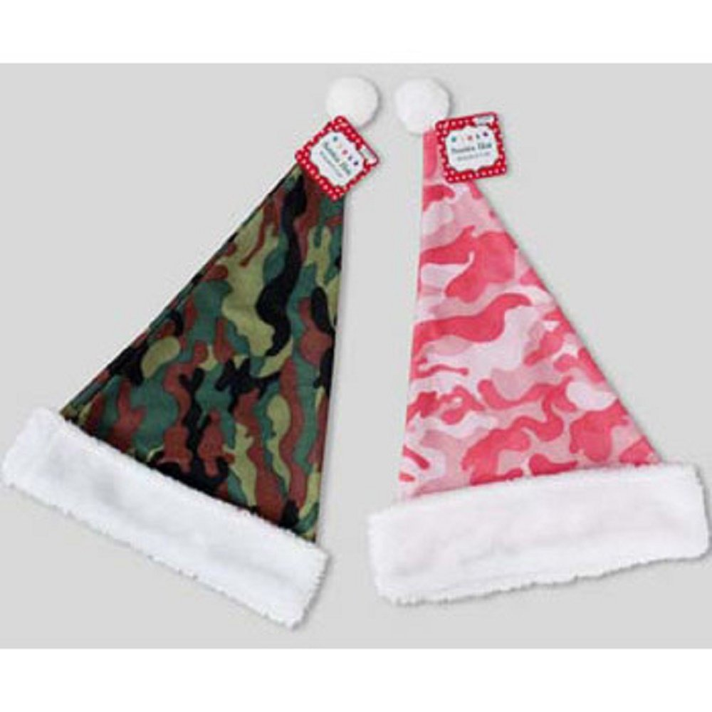 Camouflage Santa Hat w/Plush (18 inch) - One Item w/Random Color and Design (...