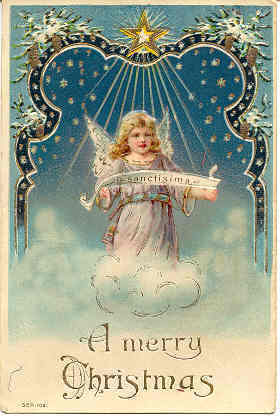 A Christmas Angel Vintage Post Card