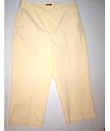Womens Valerie Stevens Cropped Pale Yellow Pants 8 Capri Cotton Elastane - $30.00