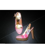 Authentic New Womens 7 Coach Heels Sandals Shoes Peep Toe Pink Wood Stripes - $148.00