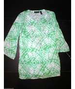 New Womens INC International Concepts 12 Embroidered Tie Dye Top Green W... - $28.00