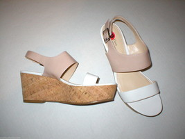 New Womens 10 Calvin Klein Wedge Sandals Platform Shoes White Beige Patent Leath image 1