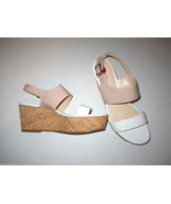 New Womens 10 Calvin Klein Wedge Sandals Platform Shoes White Beige Pate... - $24.00