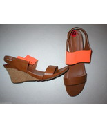 New Womens 10 Kenneth Cole Bright Orange Brown Sandals Shoes Wedge Sling... - $36.00