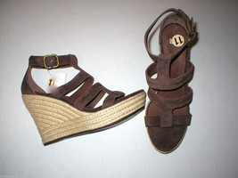 Authentic New Womens 9 9.5 10 UGG Wedge Sandals Platform Raffia Dark Brown Shoes - $68.80