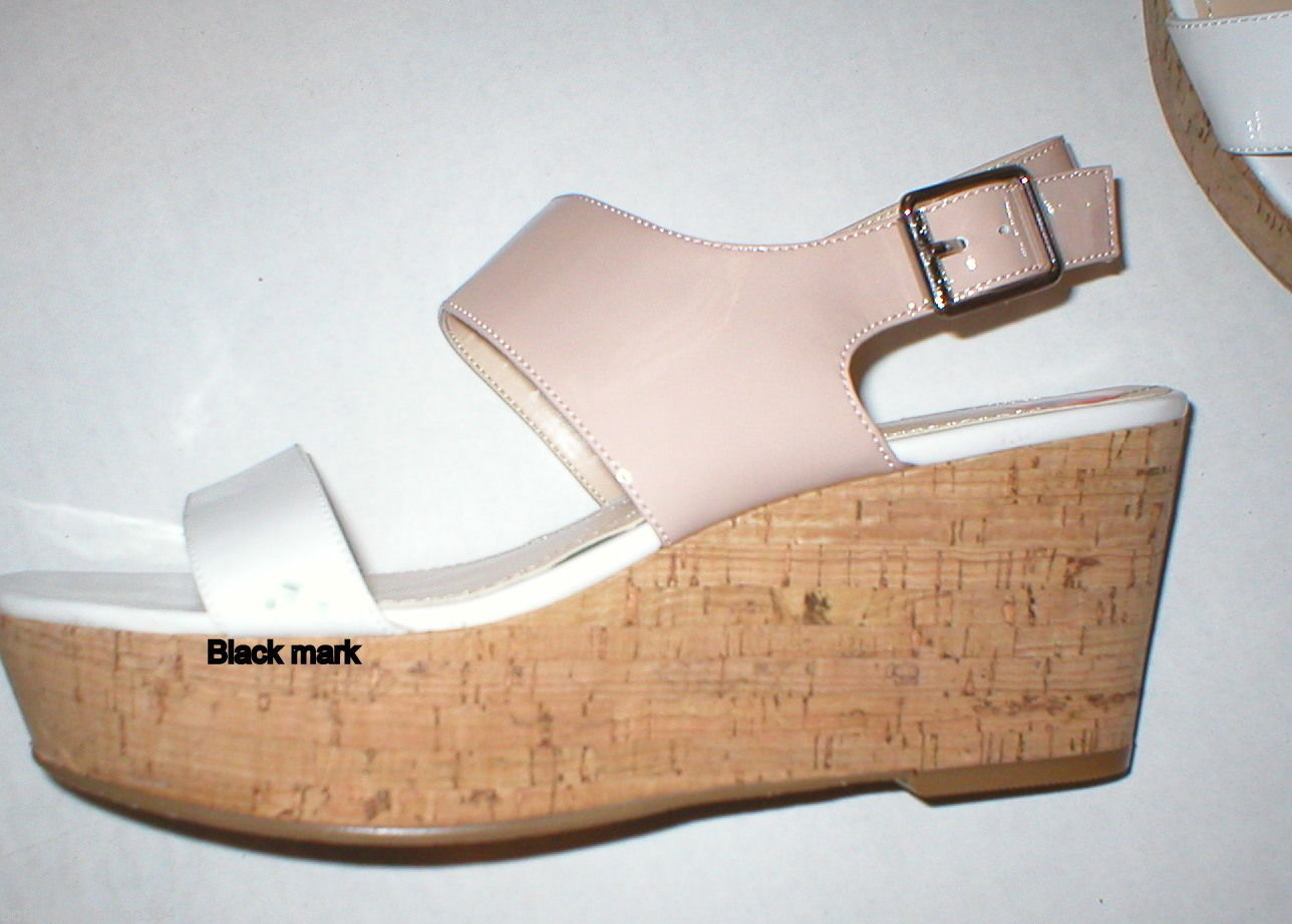 New Womens 10 Calvin Klein Wedge Sandals Platform Shoes White Beige Patent Leath image 3