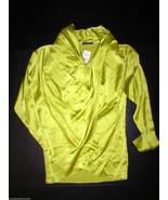 New Womens Josie Natori S NWT $375 Silk Blouse Wrap Top Lime Green LS De... - $375.00