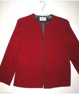 Kasper ASL Suit Separates Blazer Jacket 14 Work Date Womens Dark Red Zip... - $87.20