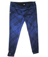 Womens Athleta L Pants Yoga Pilates Gym Purple Black Tights Plaid Revers... - $27.60