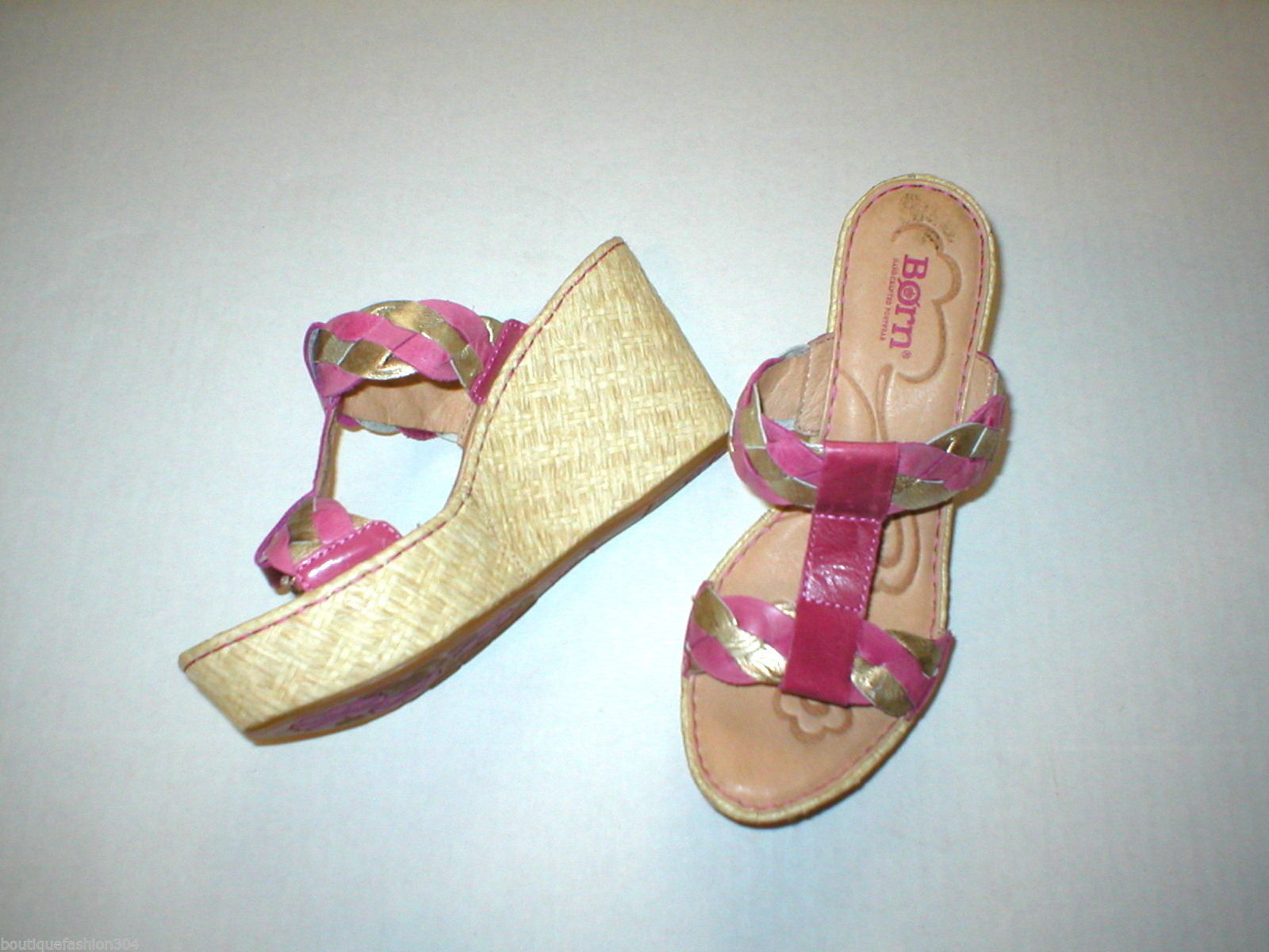 New Womens 9 Born Sandals Shoes Wedge Pink Comfort Gold Tan Braid Barstow Metall