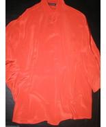 New Womens Josie Natori XS NWT Silk Blouse Top Bright Orange Batwing 3/4... - $390.00