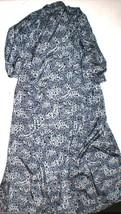 New Designer Josie Natori Wrap Robe Medium Long M Black Silver Gray Leopard - $188.00