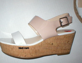 New Womens 10 Calvin Klein Wedge Sandals Platform Shoes White Beige Patent Leath image 4
