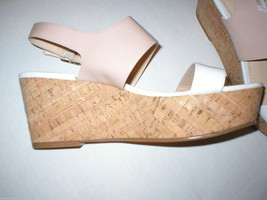 New Womens 10 Calvin Klein Wedge Sandals Platform Shoes White Beige Patent Leath image 5