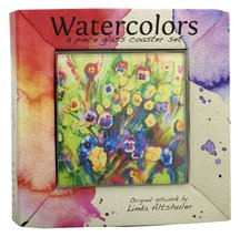 LSArts Coasters, Floral, 4 Piece Glass Coaster Set New in Box Multicolored  - $14.99