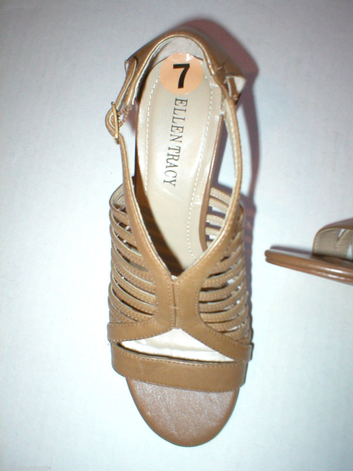 d191d0eb2ec6 ... New Ellen Tracy Sandal Heels Shoes Brown Leather 7 Open Straps Office  Date Play ...