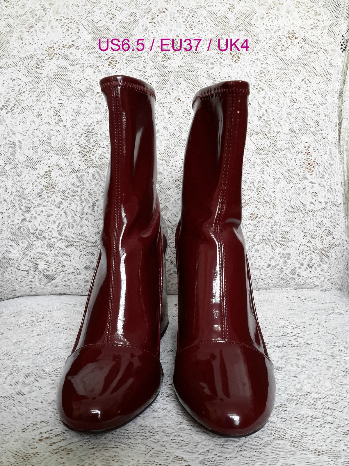 new photos on feet shots of new list Zara High Heel Sock Style Ankle Boots Red and 15 similar items