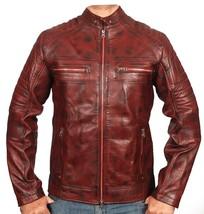 Mens Biker Vintage Motorcycle Cafe Racer Distressed Leather Jacket - $109.99