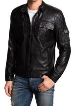 Men's Black Genuine Lambskin Leather Slim Fit Biker Motorcycle Jacket - FL412 - $79.19+