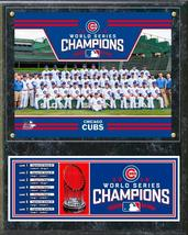 Chicago Cubs 2016 World Series Champions Team Photo & Series Stats 12x15 Plaque  - $42.95