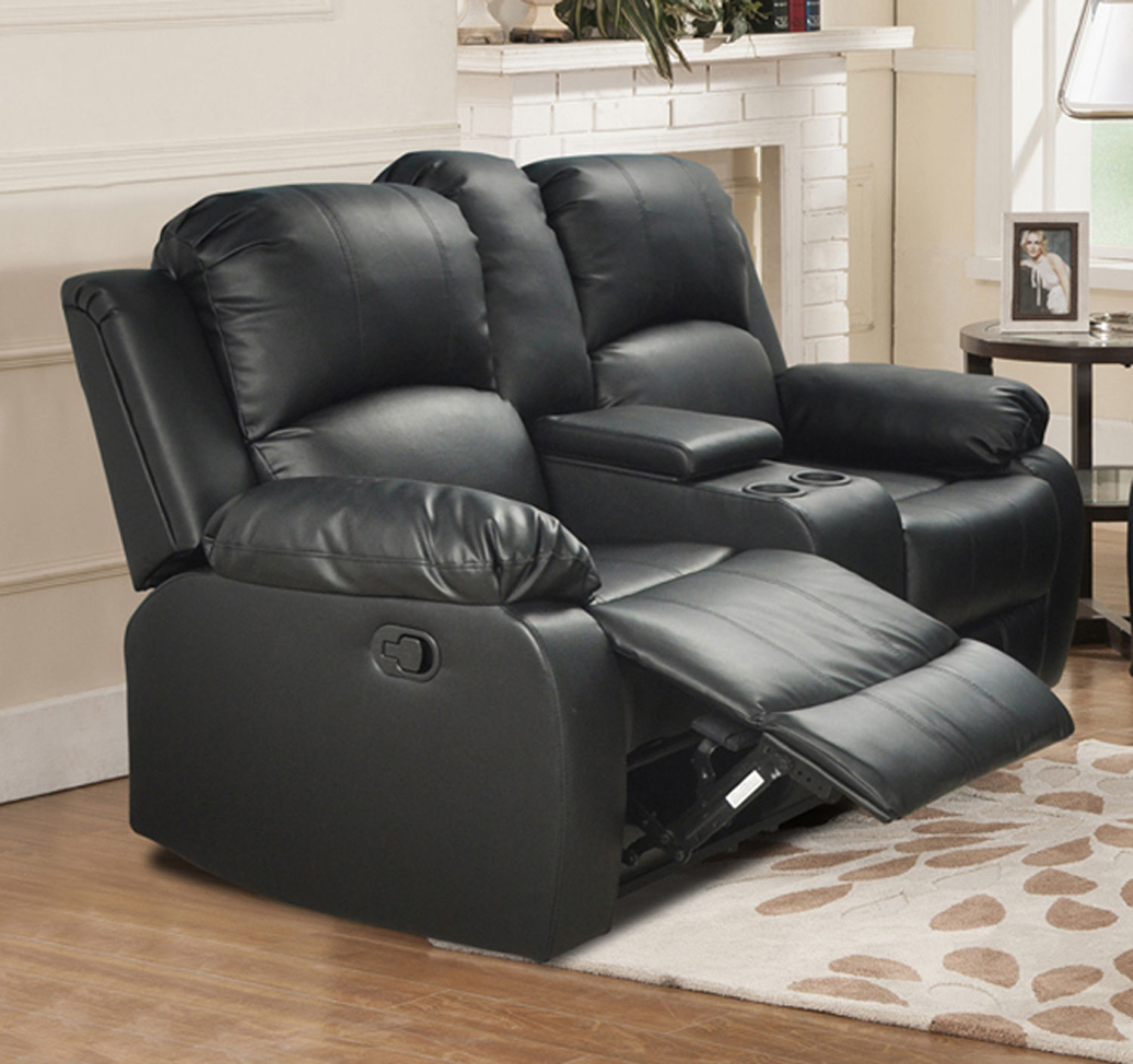 Beverly Furniture RECLINER Bonded Leather Black 2pcs