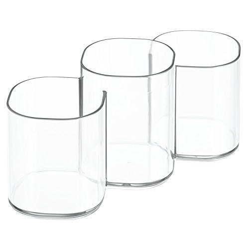 InterDesign Clarity Cosmetic Organizer Trio Cup for Vanity Cabinet to Hold