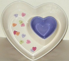 Ceramic Double Heart Valentines Purple White Serving Dish Plate Chips n ... - $15.00