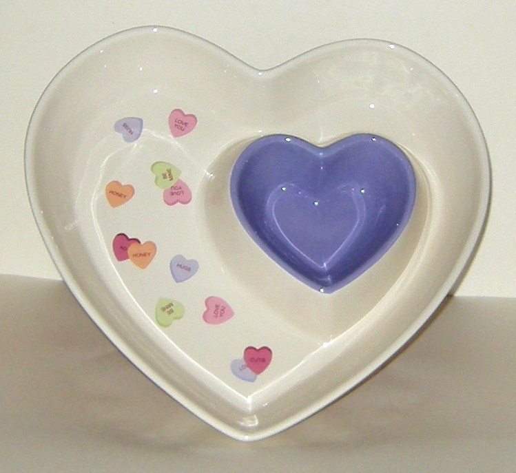 Ceramic Double Heart Valentines Purple White Serving Dish Plate Chips n Dip New