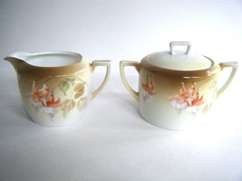 Vintage Hand Painted Sugar & Creamer Fuchsia Pattern Made In Germany - $19.75