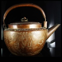 Antique teapot Japanese teapot Copper kettle dragon medallion etchings v... - $435.00