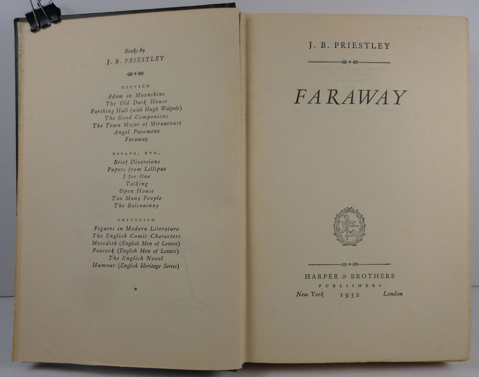 Faraway by J. B. Priestley 1932 Harper and Brothers