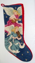 Angel Needlepoint Christmas Stocking Handmade Multi-Color - Red