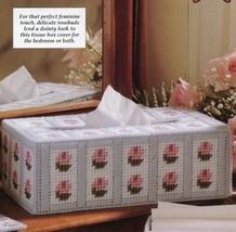 Rosebud Tissue Box Cover Plastic Canvas Pattern/Instructions NEW - $0.90