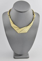 "80s VINTAGE MONET GOLD METAL & CREAM ENAMEL BOLD GEOMETRIC NECKLACE - 15"" - $25.00"